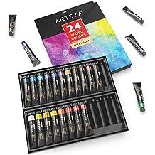 Acquerelli in Tubetto Professionali Arteza, Set da 24 Tubetti in Metallo (24 Pezzi da 12ml), Acquarelli Opachi dai Colori Vivaci e Brillanti
