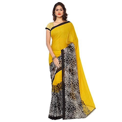 Kashvi Sarees Faux Georgette Yellow Colored Printed Sari with Blouse Piece ( 1131_1 )  available at amazon for Rs.249