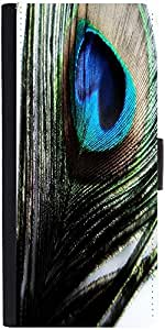 Snoogg Peacock Feather Background Graphic Snap On Hard Back Leather + Pc Flip...