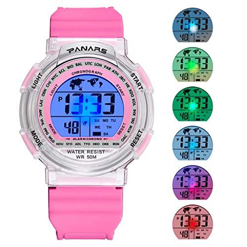 YEARNLY Jungen Digitaluhren, Kinder Sport 5 ATM wasserdicht Digital Uhren mit Alarm/Timer/El Licht, Blau Kinderuhren Outdoor Armbanduhr für Jugendliche Jungen mit 7 LED-Leuchten und Silikon Armband