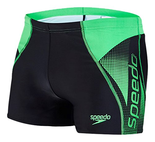 Speedo Herren Logo Panel Aquashorts Badehose Black/Fluo Green