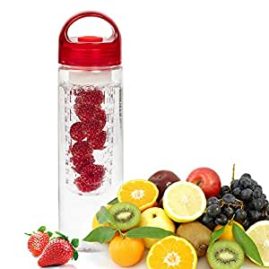 Tim Hawk Fruit Infuser Water Bottle,Transparent Plastic,Detox Drink Juice Bottle Pack of 1 (Color May Vary)