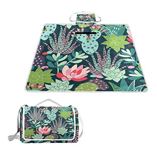 Bali Picknick-Decke für den Sommer, Kaktus und Sukkulenten, Blumen, wasserdichte Unterseite, für den Außenbereich, Strand, Camping -
