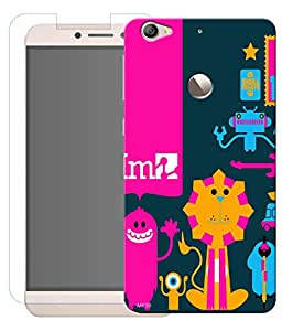 Combo of Cartoon Character HD UV Printed Mobile Back Cover and Tempered Glass For Letv Le 1S