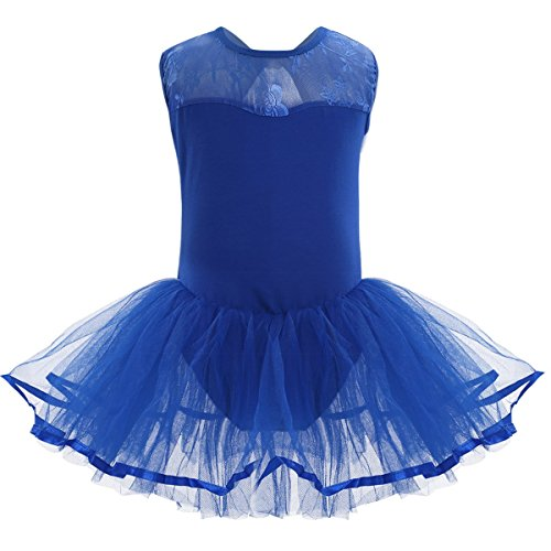 TiaoBug Tutu Robe Fille Enfant Dentelle Sans Manches Dos Du Justaucorps Gym Tutu Danse Classique Fille 3-14 ans Bleu 12-14 Ans