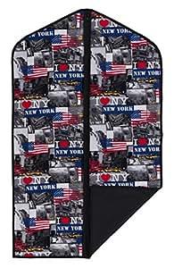 "Concept Covers Stylish 40"" (101cm) Garment / Suit Cover Bag - 'I Love New York' Print - 100% Cotton Inc Full Length Zip, Hanger Opening & Folding Loop"