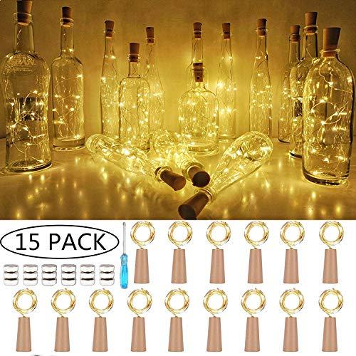 【15 Stück】SiFar 20 LEDs 2M Flaschen-Licht Warmweiß, Lichtstreifen-Korken-Flaschenverschluss, Flaschengirlanden-Korkenlampen, batteriebetriebene Sternenlichter für Heim, Garten