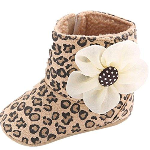 Clode® Kleinkind Mädchen Warm Halten Baumwolle Schneestiefel Weiche Sohlen Krippe Schuhe Stiefel Winterstiefel (13/12 ~ 18 Monate, Braun) (Leopard-druck-leder-boot)