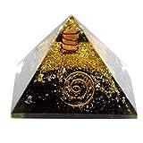 Natürliche schwarz Turmalin Edelstein Orgonite Pyramide, Energetische Energie Generator Gravur Wunderschon in Geschenkbox (schwarz Turmalin 40–55mm)