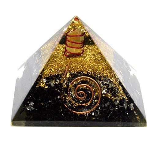 Natürliche schwarz Turmalin Edelstein Orgonite Pyramide, Energetische Energie Generator Gravur Wunderschon in Geschenkbox (schwarz Turmalin 40-55mm) -
