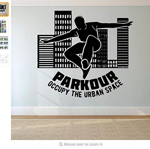 Wiwhy Parkour Logo Wandaufkleber Free Running Wandtattoo Tracer Jump Sport Wand Poster Teen Jungen Geschenk Extreme Sport Wandbild 63X57Cm