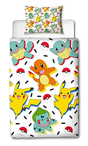 Klassischen Pyjama-top (Pokemon Einzelbett-Bettbezug, wendbar, zweiseitig, mit Pikachu, Squirtle & Charmander, mit passendem Kissenbezug, Mehrfarbig, 200 x 135 cm)
