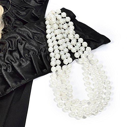 e Perlenkette 180cm lange Halskette mit Perlen weiße Kette für Burlesque Kostüm Kleid Outfit Accessoire (Zwanziger Jahre Outfit)