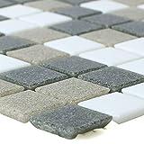 Glasmosaik Fliesen Nelson Weiß Grau Braun für Wandverkleidung Küchenrückwand Badezimmer Fliesenspiegel Duschwand Bad