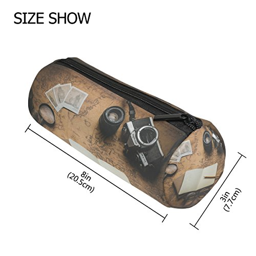 (tizorax Vintage Style Alte Weltkarte Foto Kameras Notizbuch Federmäppchen Stift Tasche mit Reißverschluss Münze Organizer Make-up costmetic Tasche für Frauen Mädchen Jungen Teenager Kinder)