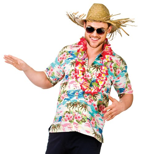 Hawaii Shirt - Pink Flower & Palm Trees (XL) Fancy Dress Stag ()