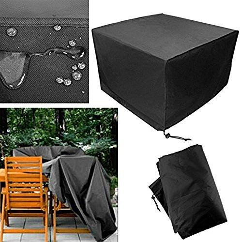 DaDago Terrassentgeschützte Möbel Decken Schwarze Rechteckige Extra Große wasserdichte Dustproof Falten Tisch Und Stuhl-Set-Cover - 250X250X90Cm