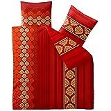 Bettwäsche 200x220 Baumwolle, Trend Nadia Streifen Muster rot orange aqua-textil 0011819