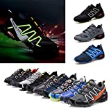kunfang Man's Reflective Sneaker Fashion Night-Running Safety Shoes Shallow Mouth Lace Up Sport Shoes Leisure Lightweight Flat Shoes for Jogging Fitness Outdoor Daily Training (Blue/Black/Gray)