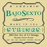 D\'Addario Cordes en bronze phosphoreux pour Bajo Sexto D\'Addario J85, extrémité à boucle, 26-92
