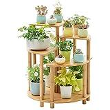 TGDY 5-Tier Bambus Blumen- / Pflanzenständer Regalsystem Rack Pot Display Indoor Outdoor, 70 X 60 X 60 cm, Holzmaterial Boden Blumenständer (Ideal Gärtner Geschenk)