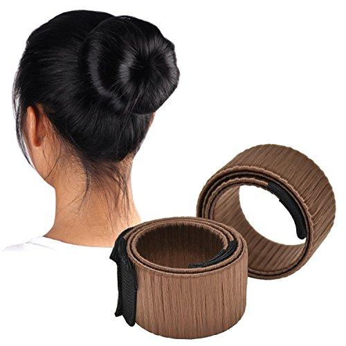 Da.Wa 1 Stück Bun Maker Mode Frisur Damen Fashion Haarstyling Tool Donut Haare Dutt Styling Werkzeug-Brautfrisur für Brautschmuck Haarknoten, Hell Braun