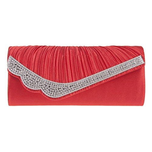 UKFS Raso Pieghe & Scintillante Diamante Pochette Da Giorno / Ragazze Delle Signore Progettista Cerimonia Nuziale Della Spalla Sacchetto / Sacchetto Di Sera (Rosso) Rosso