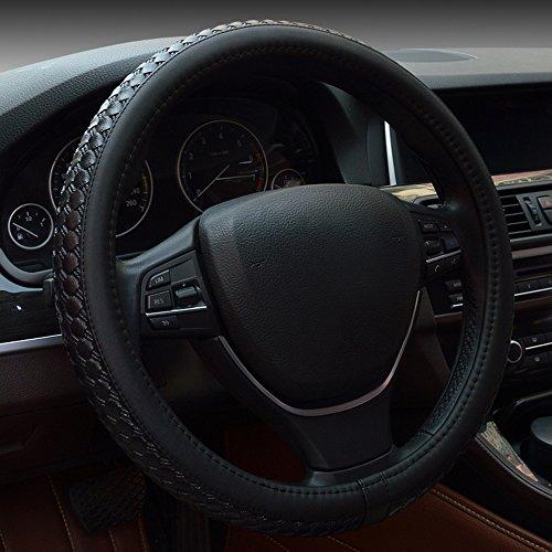Auto Lenkrad Abdeckungen, Fozela Universal 38cm Mikrofaser-Leder Anti-Rutsch atmungsaktiv Lenkradbezug (schwarz)