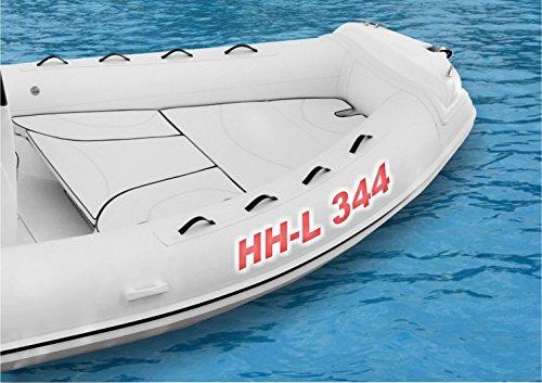 Schlauchboot-Beschriftung bis insgesamt 16 Zeichen Kennzeichen 10 cm freie Farb- und Schriftwahl