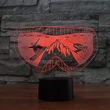 Leuchten für Kinder/3D Ski Brille Molding Nachtlicht 7 Farben Ändern Snowboard Büro Lampe LED Acryl Luminary Geschenke Baby Room Decor