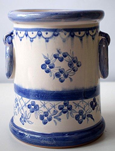 Portamestoli - Porta utensili - Linea Fiori Blu - Realizzato a Mano - Le Ceramiche del Castello - Made in Italy