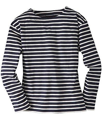 Klassisch Gestreift, Gestreift Pullover (Bretonisches Fischerhemd Unisex Klassisch Gestreift Langarmhemd Farbe marine/natur, Größe L)