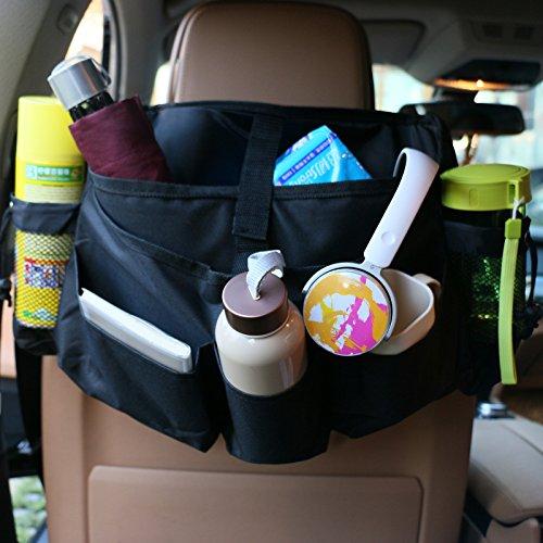GOGOLO Universal Luxus Auto Organizer, Perfekte Vordersitze Organizer-Tasche mit seitlichen Mesh-Taschen, Auto-Sitz Organizer für Kinder & Erwachsene, Schwarz -
