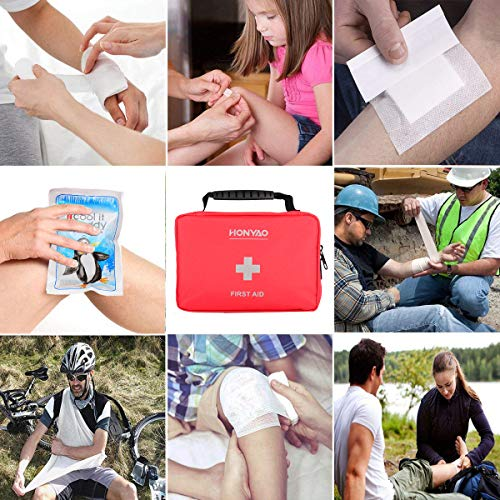 51mQCagyN6L - HONYAO Botiquín de Primeros Auxilios, Bolsa Médica de Emergencia - Kit de Supervivencia para el Hogar, Automóvil, Campamento, Oficina, para Viaje y Deportes Al Aire Libre