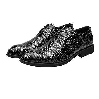 Jingkeke Herren PU Leder Kleid Schuhe Schlangenhaut Textur Vamp Lace-Up atmungsaktiv Business gefüttert Oxfords auffällig (Color : Schwarz, Größe : 39 EU)
