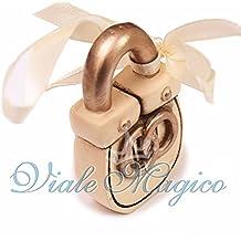 Bomboniere Segnaposto Faidate Matrimonio 12 PEZZI Appendino Lucchetto Fedi Sposi Portafortuna Offerte Stock Gadget