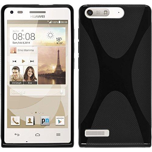PhoneNatic Case für Huawei Ascend P7 Mini Hülle Silikon schwarz X-Style Cover Ascend P7 Mini Tasche + 2 Schutzfolien
