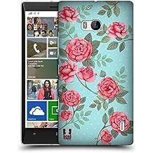 Head Case Designs Fiori In Blu Pattern Rose Nostalgiche Cover Retro Rigida per Nokia Lumia Icon / 929 / 930