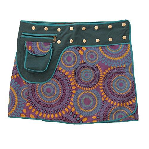 Leucht-Welten Damen Wickelrock Baumwolle Rock mit Tasche sk1 Design 9 Einheitsgröße verstellbar -