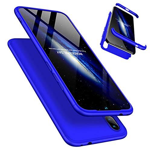 Funda Xiaomi Redmi Note 7/Note 7 Pro 360°Caja Caso + Vidrio Templado Laixin 3 in 1 Carcasa Todo Incluido Anti-Scratch Protectora de teléfono Case Cover para Xiaomi Redmi Note 7/Note 7 Pro (Azul)