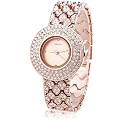 Leopard Shop WEIQIN W4243 Female Quartz Watch Stainless Steel Band Wristwatch Artificial Crystal Diamond Dial #5