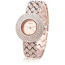 Leopard Shop WEIQIN W4243 Female Quartz Watch Stainless Steel Band Wristwatch Artificial Crystal Diamond Dial #5