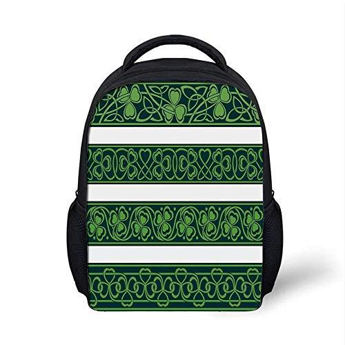 Kids School Backpack Irish Stylish,Set of Four Shamrock Borders Gaelic Nature Botany Theme Artsy Trefoils Swirls for School Travel,9.4