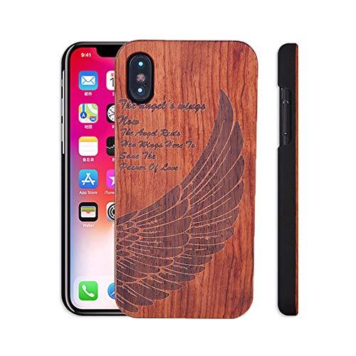 Fusicase Schutzhülle für iPhone XR aus Holz, modischer Stil, mit Kirschen-Muster, Hartschale, mit Gravur, Hartkunststoff und Hartholz-Hülle für iPhone XR Anchor, iPhone XR, Wing -