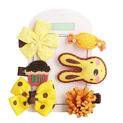 6 Stücke Haargummi Klaue Clip Schöne Cartoon Kind Haarnadeln Korean Haarspangen Clamp Kleine Prinzessin Haarspangen Haarschmuck für Baby Mädchen Teens Kleinkinder Kinder Kinder(Gelbes Kaninchen)