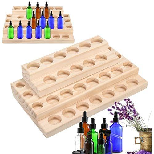 PhantomSky 30 Löcher Holz Organizer Aromatherapie Geschenk-Box Halter Ätherische Öle Flaschen Aufbewahrung Display Regal - Geeignet für Nagellack, Duftöle, Ätherisches Öl, Stain und Lippenstift -