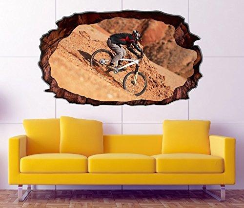 3D Wandtattoo Downhill Biking Mountainbike selbstklebend Wandbild Tattoo Wohnzimmer Wand Aufkleber 11M178, Wandbild Größe F:ca. 97cmx57cm