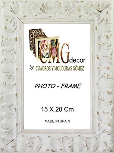 Portafotos de madera de pino CMGdecor con Grabado decorado RF F02 (15 X 20 Cm, BLANCO)