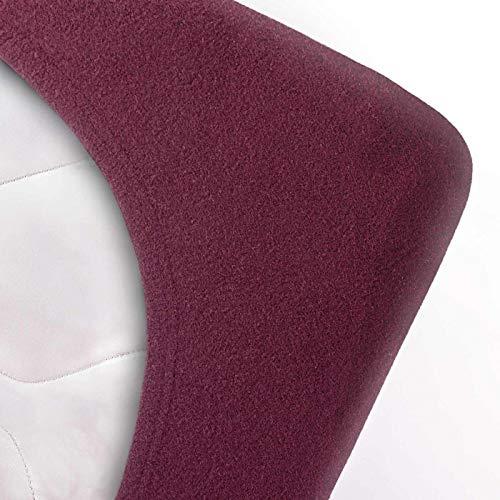 #5 Etérea Teddy Flausch Kinder-Spannbettlaken, Spannbetttuch, Bettlaken, 18 Farben, 60×120 cm – 70×140 cm, Bordeaux - 2