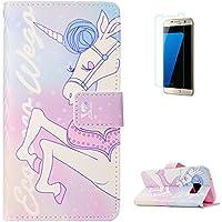KaseHom Samsung Galaxy S7 + [Protector de Pantalla] Dibujos Animados Estuche Billetera de Cuero Folio con Ranuras para Tarjetas y Cubierta Flip magnética Slim Anti-Arañazos Case - Unicornio